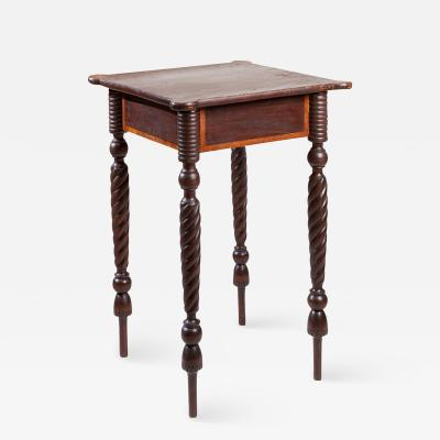 Country Federal Brown Painted and Inlaid Stand with Twist Turned Legs
