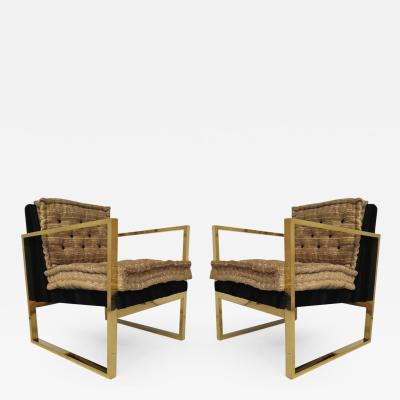 Couple of Brass Armchairs Italy 1950s