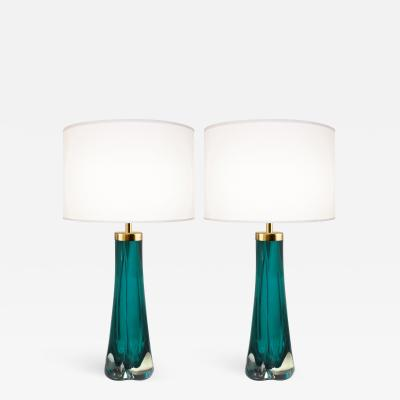 Craig Van Den Brulle Pair of Thick Cased Aqua Glass Lamps from Craig Van Den Brulle to Order