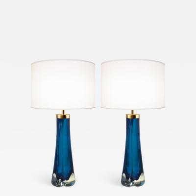 Craig Van Den Brulle Pair of Thick Cased Blue Glass Lamps from Craig Van Den Brulle to Order
