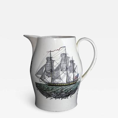 Creamware Large Ship Jug for American Market American Ship Liverpool