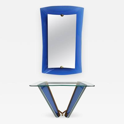 Cristal Arte Mirror and Console in Blue Glass Italy 1950s