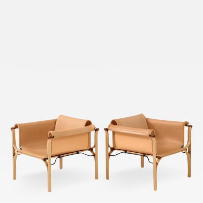 Cristian Valdes Saddle Stitched Leather Lounge Chairs by Valdes