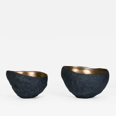 Cristina Salusti 2 Ceramic Bowls with Bronze Glaze by Cristina Salusti