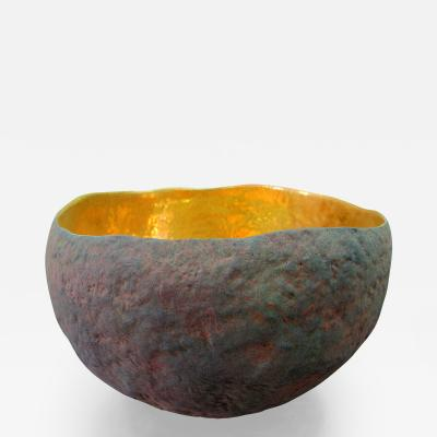 Cristina Salusti Round Ceramic and Gold Bowl by Cristina Salusti