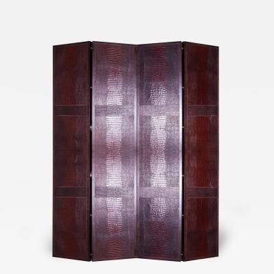 Crocodile Embosed Leather Folding Screen