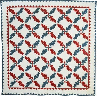 Crossed Leaves Quilt Circa 1850 Maryland