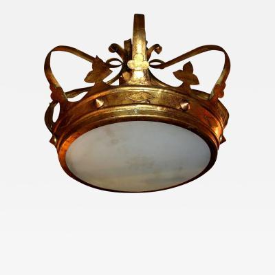 Crown Shaped Gilt Metal Light Fixture