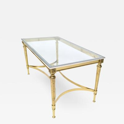 Crystal Brass and Aluminum Coffee Table Italy 1950s 1960s