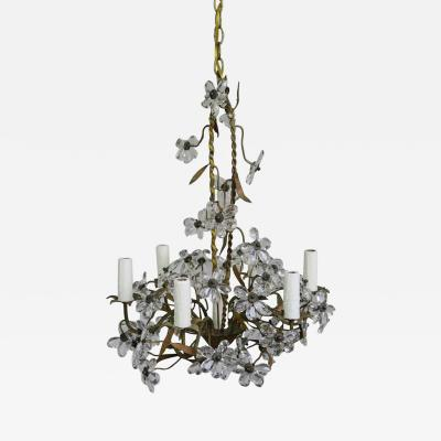 Crystal Flower Basket Six Light Chandelier