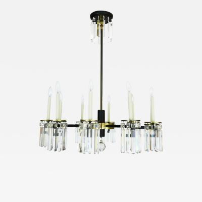 Crystal and Brass Regency Moderne Chandelier