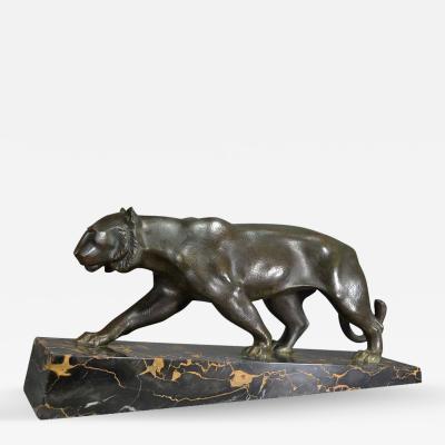 Cubist Art Deco Panther Bronze signed Elsouk