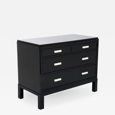 Cubistic Shaped French Art D co Chest of Drawers Black Lacquer Ivory Handels