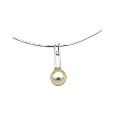 Cultured Golden South Sea Pearl Diamond Pendant Necklace 14KT White Gold