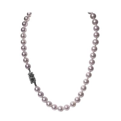 Cultured Pearl Necklace Platinum Diamond Clasp