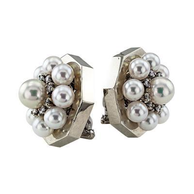 Cultured Pearl and Diamond Octagonal Earrings Circa 1950