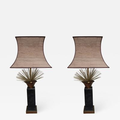 Curtis Jer A Pair of Marble and Brass Table Lamps in the style of Curtis Jere Spain 1960