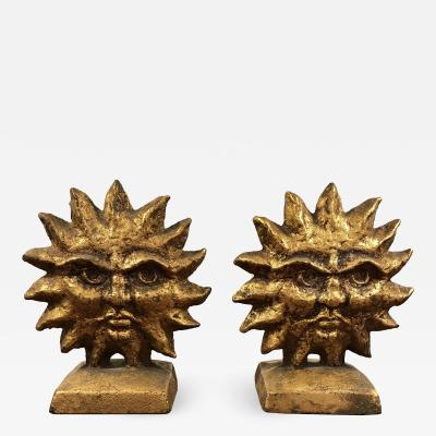 Curtis Jer A pair of Sun And Moon Reversible Bookends by Curtis Jere