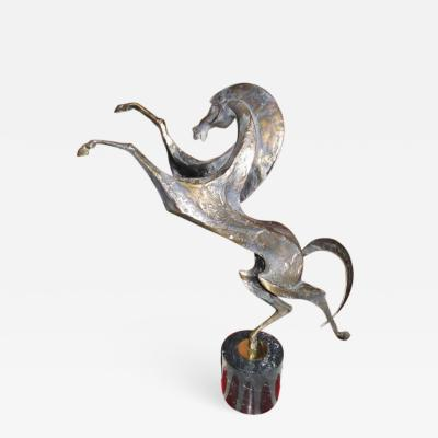 Curtis Jer Abstract Bronze Horse on Black Marble by Curtis Jere Mid century Modern