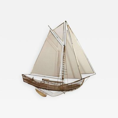 Curtis Jer American Modern Brass Wall Mounted Model of a Ship