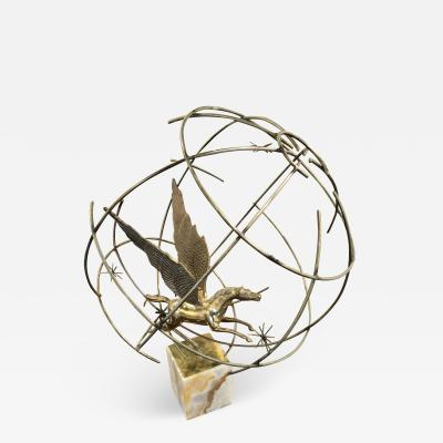 Curtis Jer An American Modern Onyx and Brass Sculpture of A Globe and Pegasus Curtis Jere