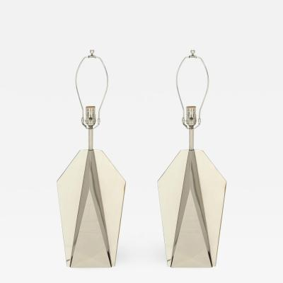 Curtis Jer C Jere Chrome Origami Lamps