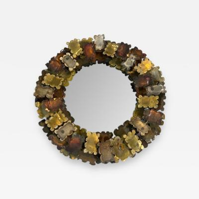 Curtis Jer CURTIS JERE BRUTALIST MIXED METALS TORCH CUT ROUND MIRROR