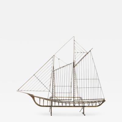 Curtis Jer Curtis Jere Brass Boat Sculpture 1988
