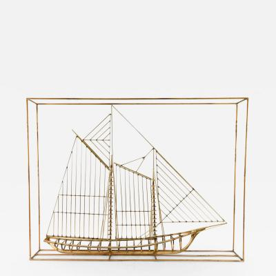 Curtis Jer Curtis Jere Brass Ship Sculpture Signed