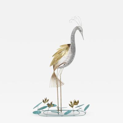 Curtis Jer Curtis Jere Brass Wall Mounted Heron Sculpture 1988