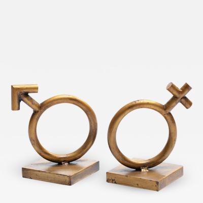 Curtis Jer Curtis Jere Mars Venus Gold Gilt Bookends Sculptures Signed Jer 1968