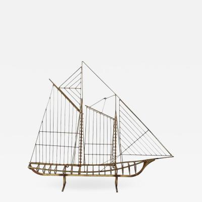 Curtis Jer Curtis Jere Metal Boat Sculpture