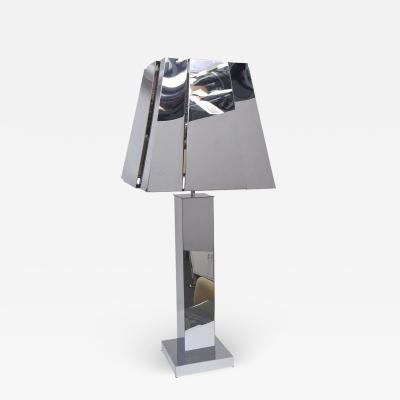 Curtis Jer Curtis Jere Sculptural Chrome Table Lamp with Chrome Shade USA 1976 Signed