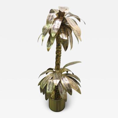 Curtis Jer Giant Curtis Jere Sculptural Brass Palm Tree Torch Cut Mid Century Modern