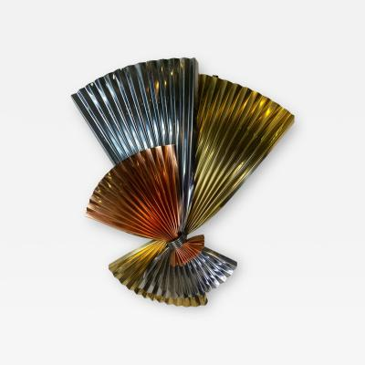 Curtis Jer MODERNIST TRICOLOR METAL FAN WALL SCULPTURE BY CURTIS JERE