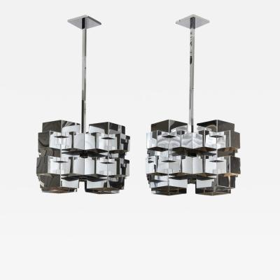 Curtis Jer Pair of C Jere Chandeliers Nickel Chrome Cubist USA 1970s