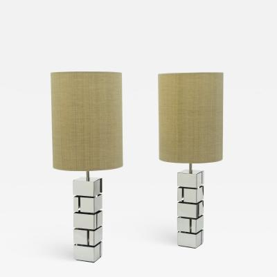 Curtis Jer Pair of Mid century Curtis Jere chrome lamps 1970s