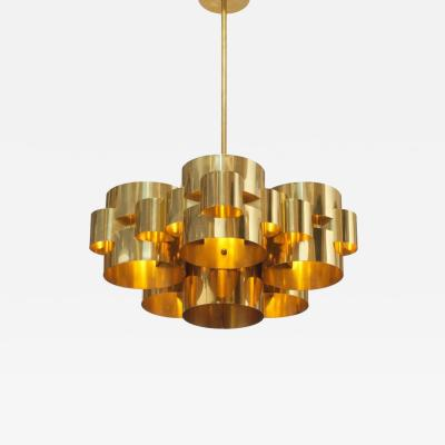 Curtis Jer Pair of Polished Brass Cloud Form Chandelier by Curtis Jere