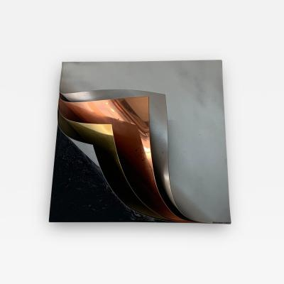 Curtis Jer Rare Curtis Jere Pulled Metal Grey Copper Brass Chrome Black Wall Sculpture 1989