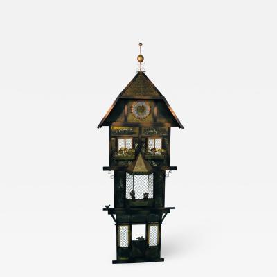 Curtis Jer Rare Curtis Jere Wall Sculpture Birds in Front of a Clock Tower