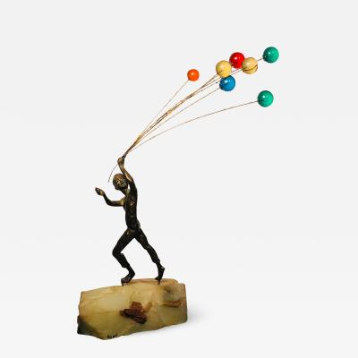 Curtis Jer Rare Model of Sculpture of Boy Holding Balloons by Curtis Jere