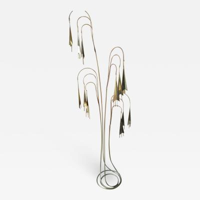 Curtis Jer Wonderful C Jere Brass Trumpet Vine Tall Floor Sculpture Kinetic Mid century
