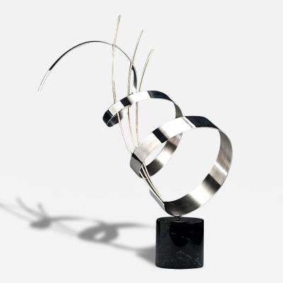Curtis Jere Abstract Chrome Sculpture on Marble Base