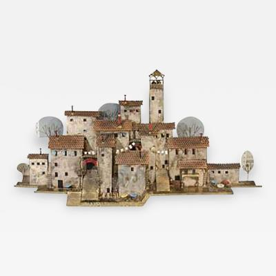 Curtis Jere Amazing Colorful Wall Mounted Mediterranean Village Sculpture by Curtis Jere