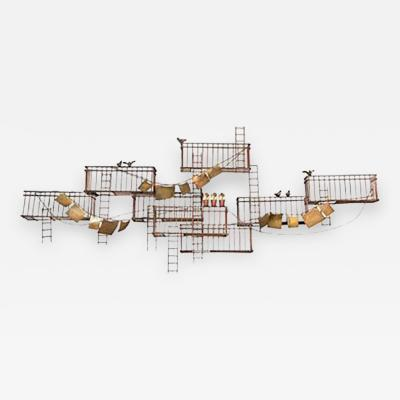 Curtis Jere Amazing Monumental Curtis Jere New York City Fire Escape Scene Wall Sculpture