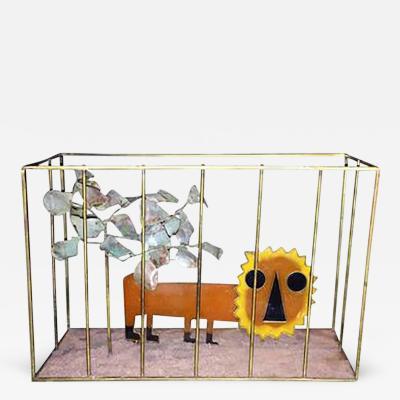 Curtis Jere Animated Curtis Jere Modernist Pop Orange Resin Lion in Brass Cage Sculpture