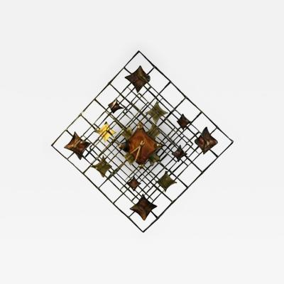 Curtis Jere Beautiful Brutalist Wall Sculpture or Modern Clock by Curtis Jere