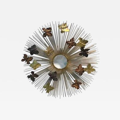 Curtis Jere Beautiful and Rare Curtis Jere Sunburst Wall Sculpture with Butterflies