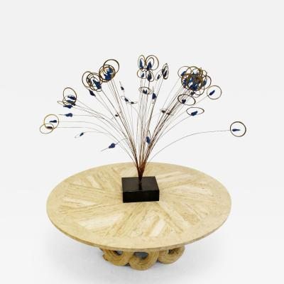 Curtis Jere Brass Mid Century Modern Signed Jere Spray Table Sculpture with Blue Acrylic
