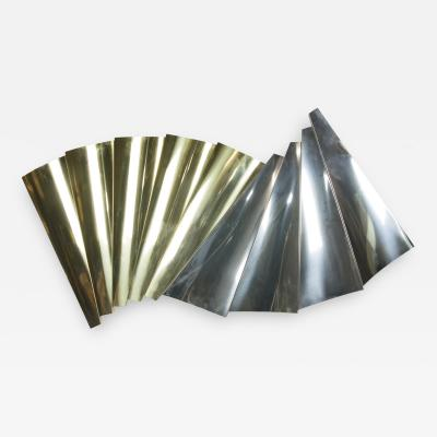 Curtis Jere Brass and Chrome Multifaceted Sculpture by Curtis Jer